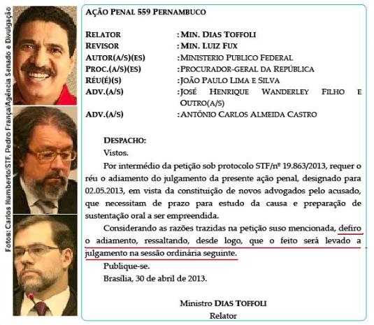 João Paulo e Dias Toffoli
