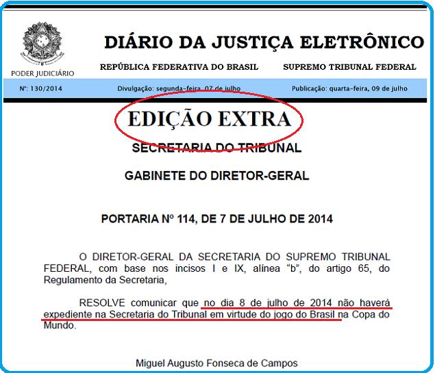 Edição Extra do Diário da Justiça