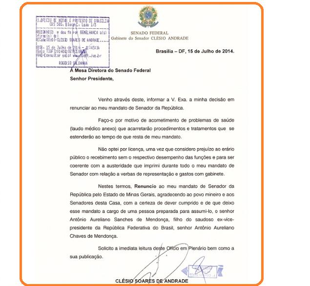 Renúncia Clésio Andrade