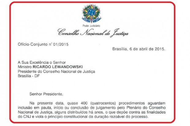 Ofício CNJ processos em atraso