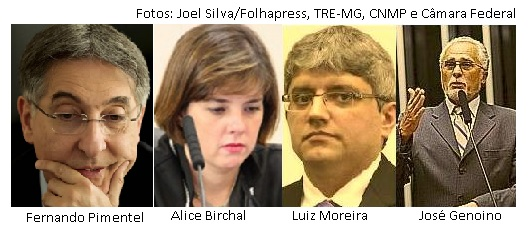 Fernando Pimentel, Alice Birchal, Luiz Moreira, José Genoino