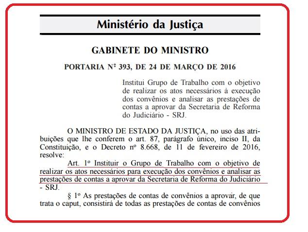 Portaria sobre Secretaria da Reforma do Judiciário