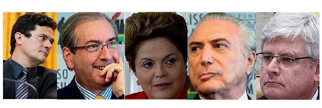 Moro, Eduardo Cunha, Dilma, Temer e Janot