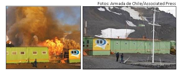Incêndio estação na Antártida
