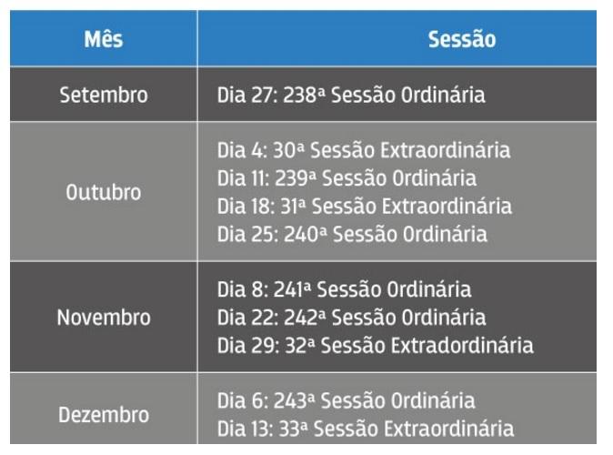 CNJ calendário de sessões