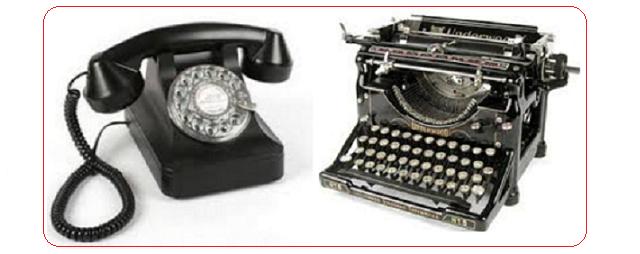 Telefone e Máquina de escrever