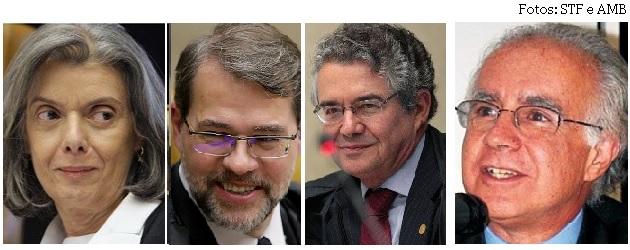 Cármen Lúcia, Toffoli, Marco Aurélio e Joaquim Falcão