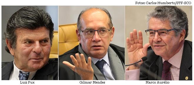 Luiz Fux, Gilmar Mendes e Marco Aurélio